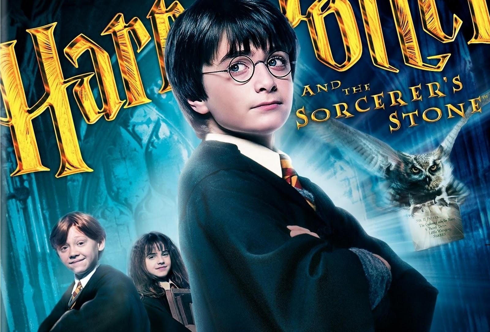 poster phần phim Harry Potter và Hòn đá phù thủy, gồm 3 nhân vật chính và hình ảnh một chú cú