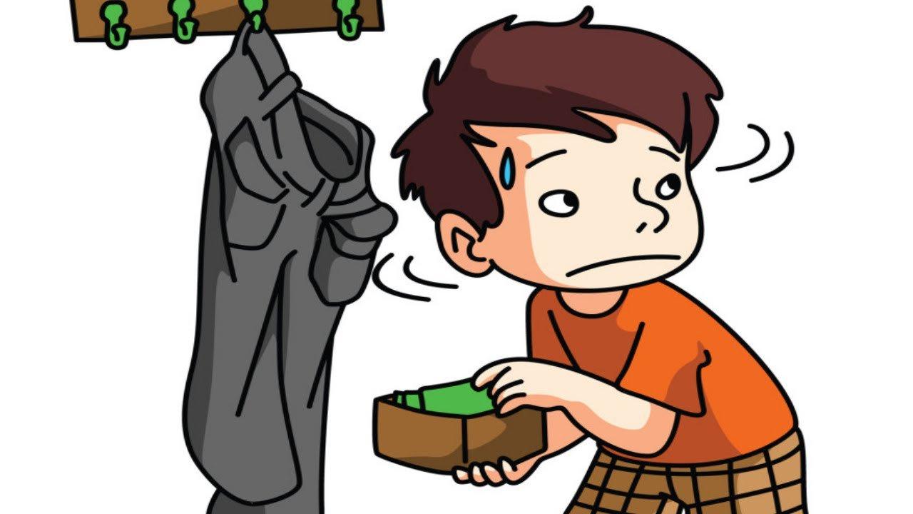 một cậu bé đang lấy trộm tiền trong ví mẹ - hình ảnh minh họa cho Ving làm bổ ngữ cho tân ngữ 1