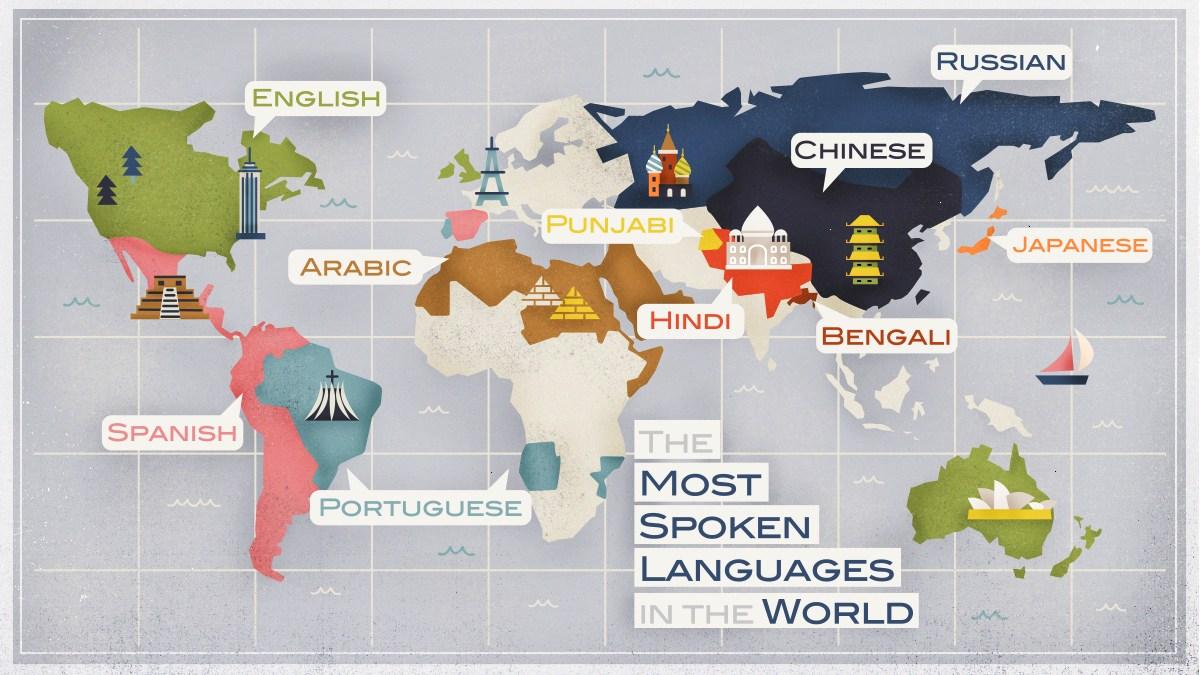 các quốc gia có ngôn ngữ phổ biến nhất được tô đạm trên bản đồ thế giới - hình ảnh minh họa cho từ vựng tiếng ANh về các loại ngôn ngữ