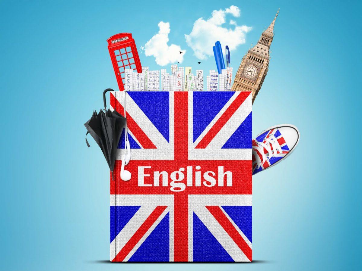 cờ nước ANh và các biểu tượng của nước Anh như Tháp đồng hồ, bốt điện thoại,..
