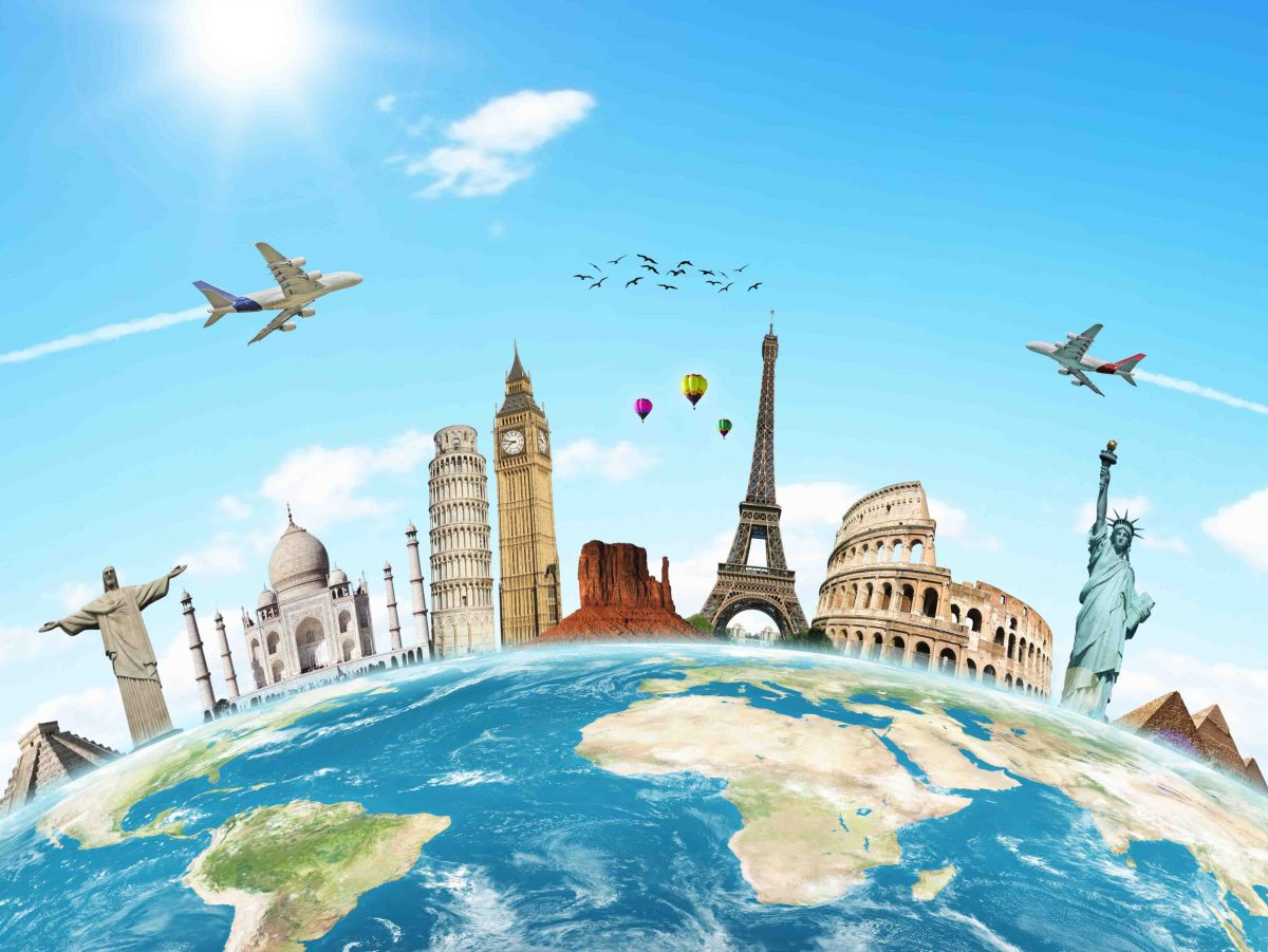hình ảnh quả địa cầu với các danh lam thắng cảnh nổi tiếng trên thế giới