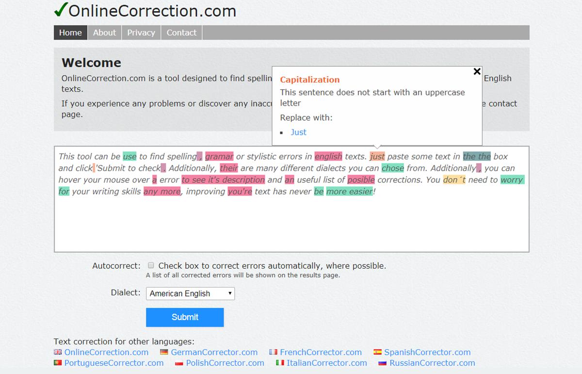 Công cụ Online Correction giúp kiểm tra ngữ pháp tiếng Anh