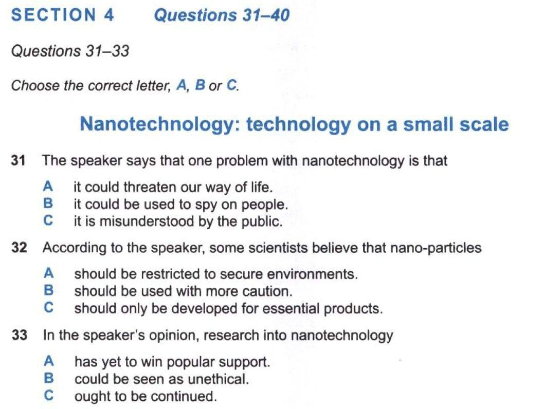Mẫu dạng bài Multiple Choice 1 câu trả lời đúng