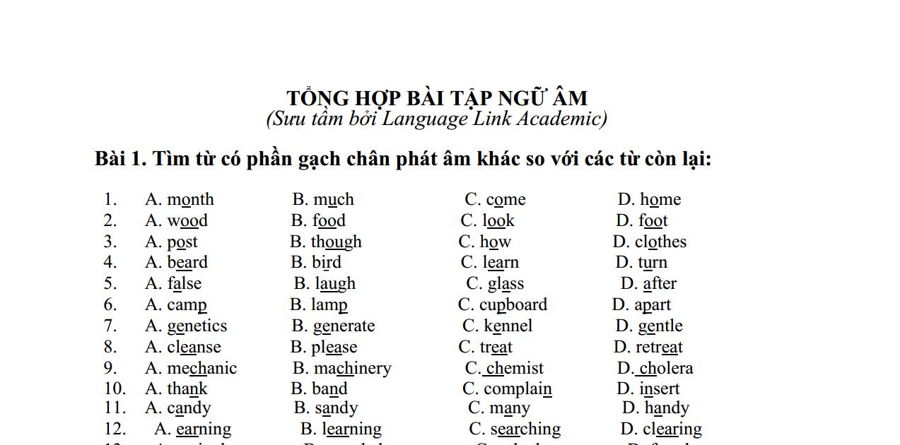 120 câu bài tập ngữ âm giúp bạn thuộc quy tắc phát âm, trọng âm tiếng Anh