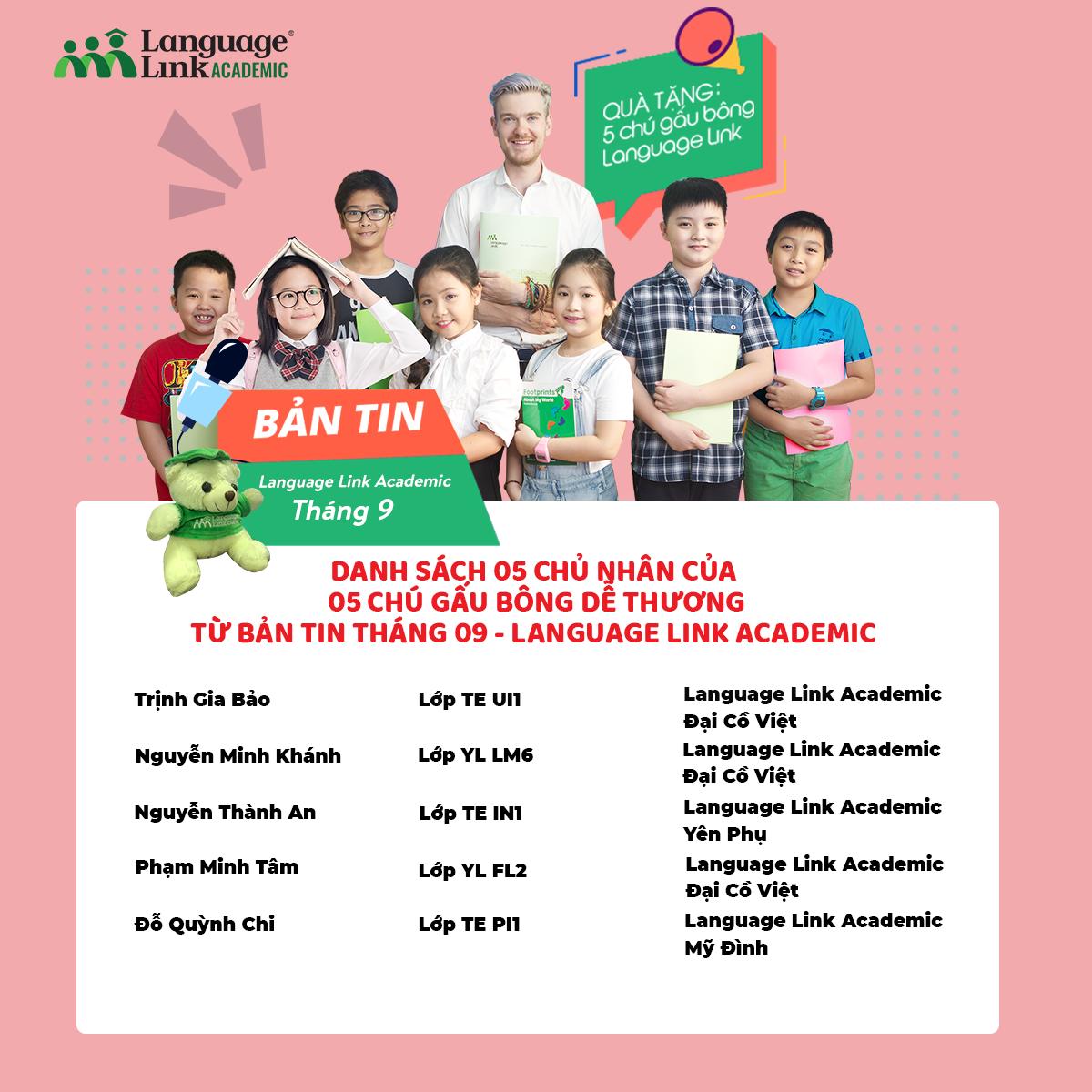 Danh sách các bạn học sinh nhận quà tặng từ bản tin tháng 09 Language Link Academic