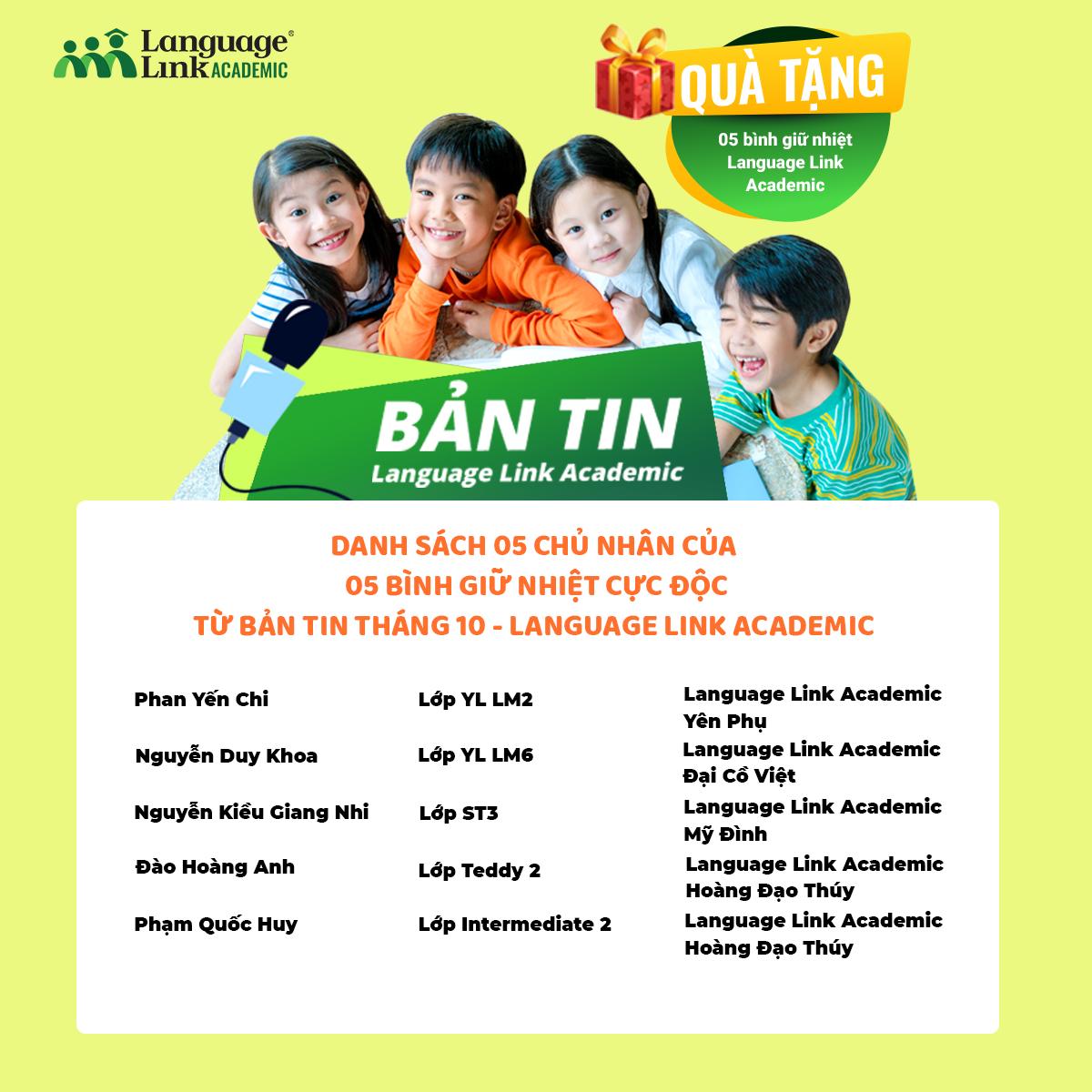 Danh sách các bạn học sinh nhận quà tặng từ bản tin tháng 10 Language Link Academic