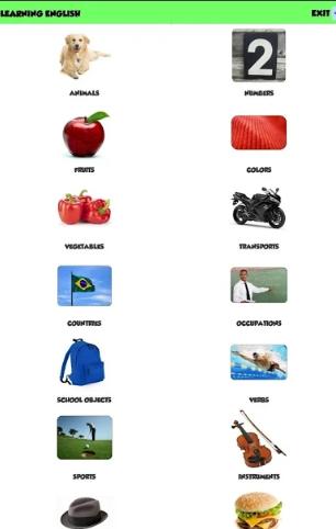 Giao diện của ứng dụng Learn English for Kids khá dễ dàng sử dụng