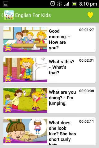 Giao diện của ứng dụng English Conversation for Kids