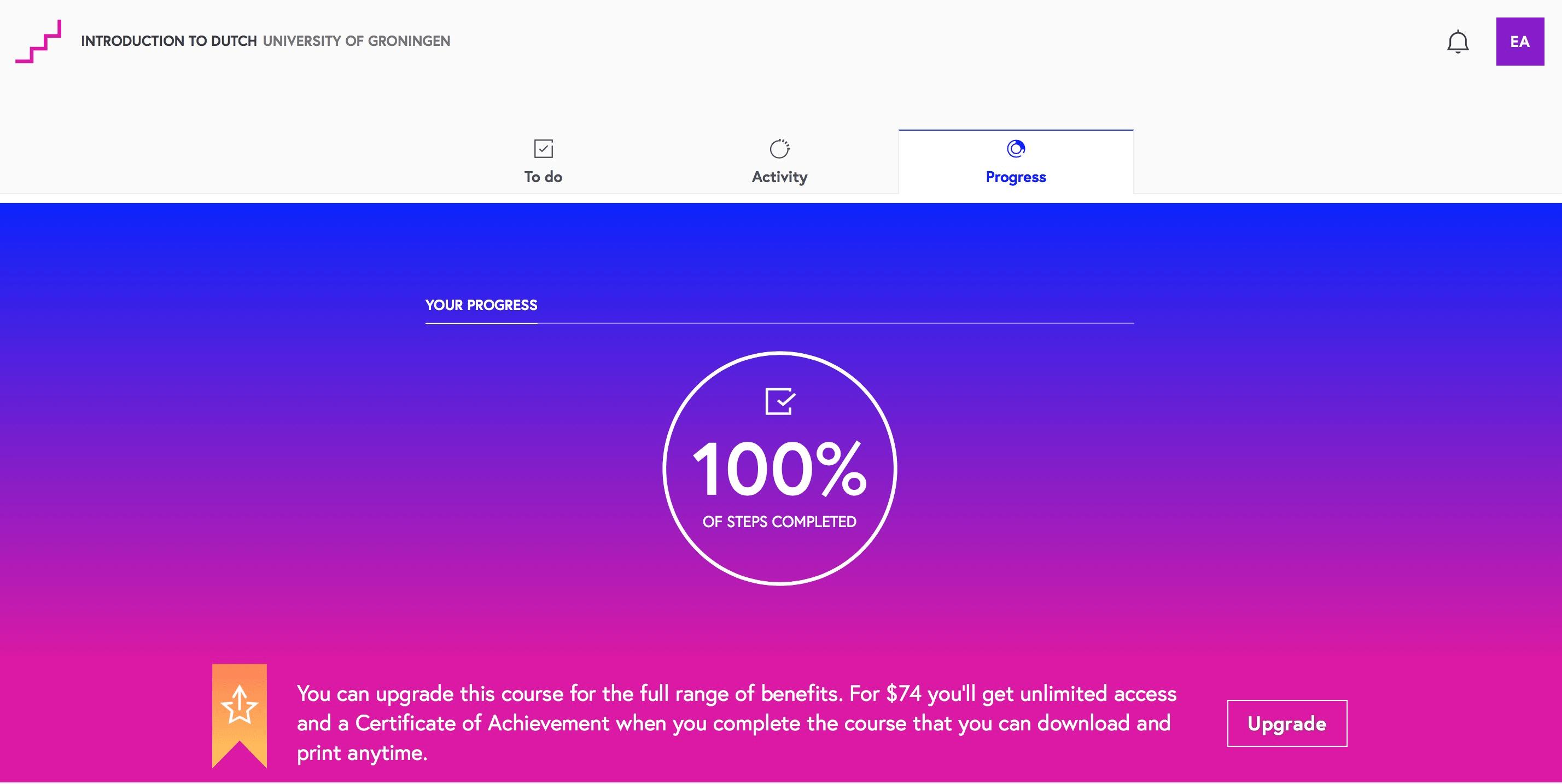 Giao diện của FutureLearn khá ấn tượng với hai màu sắc tím và xanh nổi bật