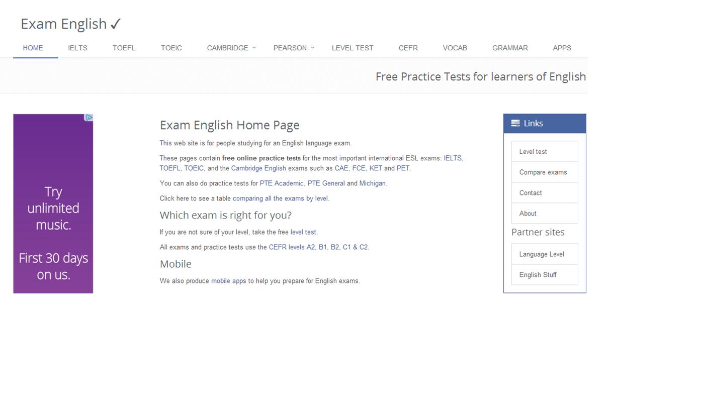 Bạn có thể bị làm phiền bởi một vài quảng cáo trên website Exam English