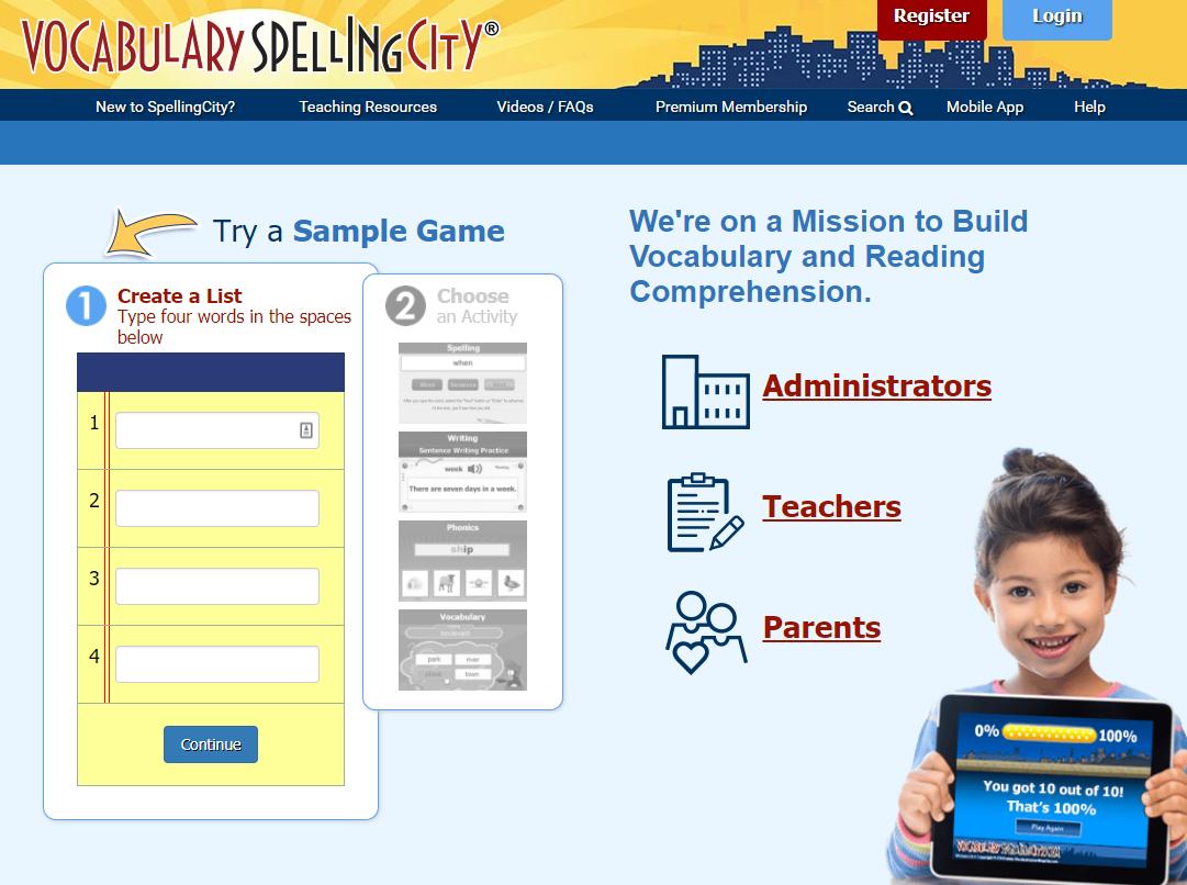 "Bạn có thể tham khảo website học giao tiếp tiếng Anh ""Vocabulary Spelling City"""
